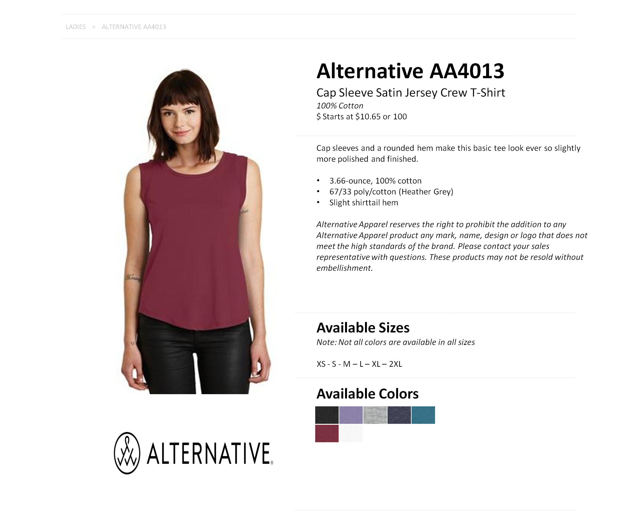 405bd9db AA4013 - Cap Sleeve Satin Jersey Crew T-Shirt — American Icon Merchandise