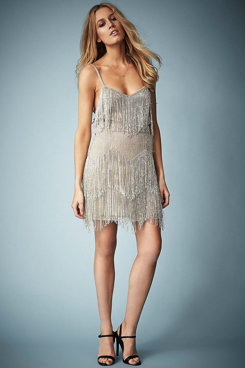 Beaded Fringe Tiered Dress