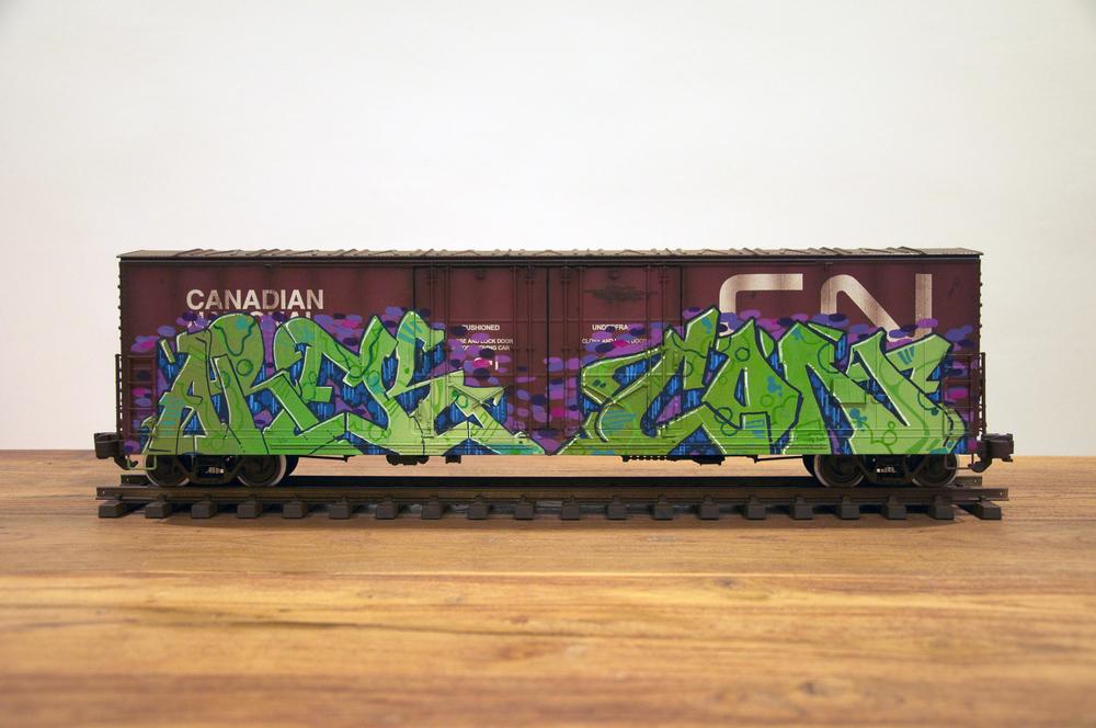 CN #5, G Scale Train, Freight Train Graffiti, Railroad Art, Tim Conlon Art