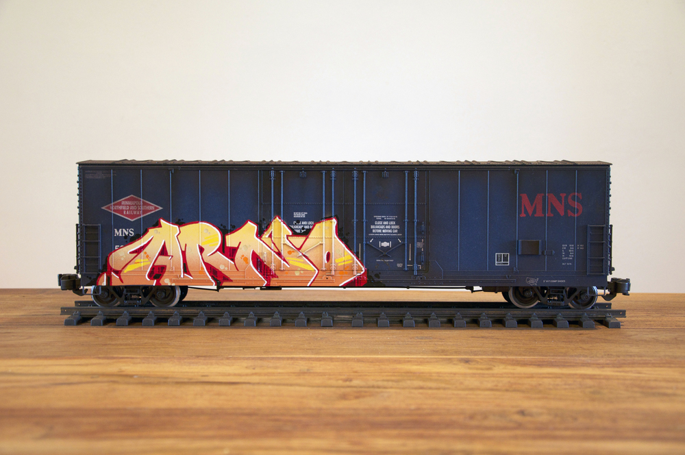 "MNS #2 – ""ARNO"", G Scale Train, Freight Train Graffiti, Railroad Art, Tim Conlon Art"