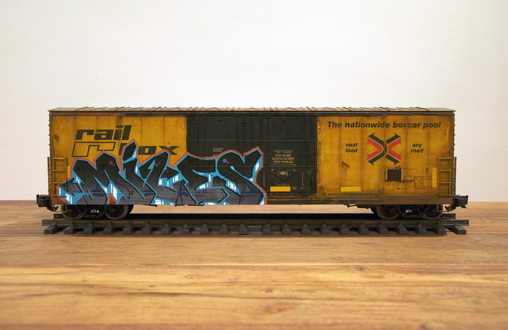 "RBOX – ""MILES"", G Scale Train, Freight Train Graffiti, Railroad Art, Tim Conlon Art"