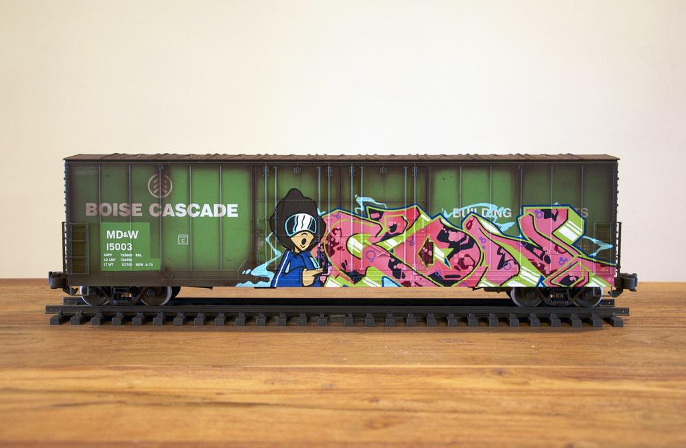 MD&W #2, G Scale Train, Freight Train Graffiti, Railroad Art, Tim Conlon Art