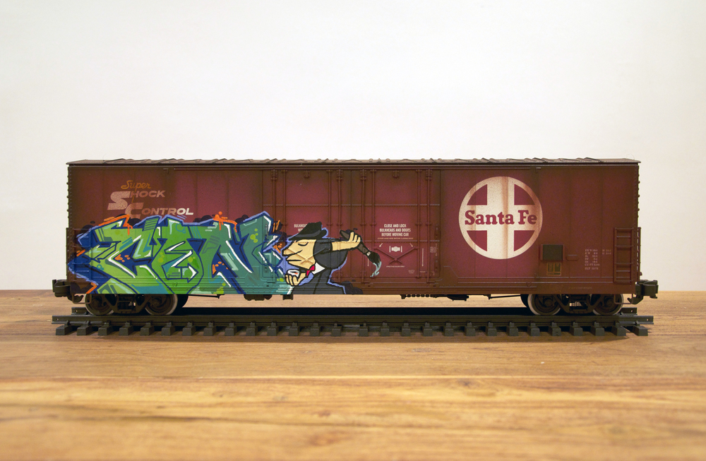 ATSF, G Scale Train, Freight Train Graffiti, Railroad Art, Tim Conlon Art