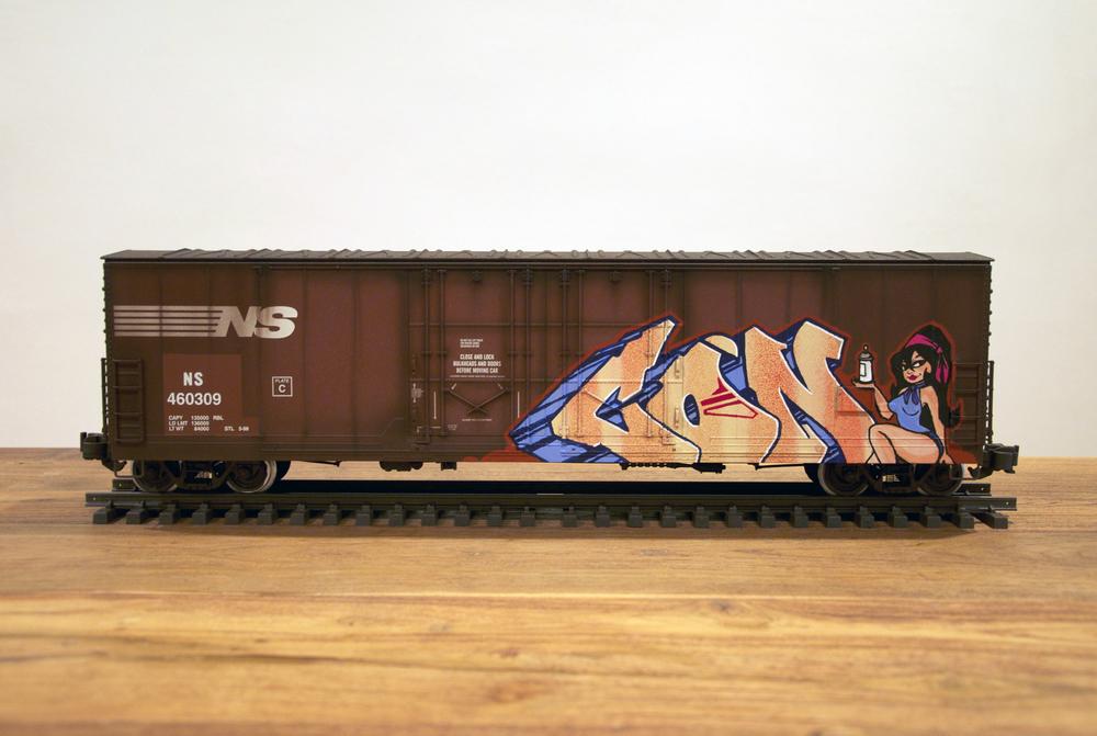 NS #6, G Scale Train, Freight Train Graffiti, Railroad Art, Tim Conlon Art