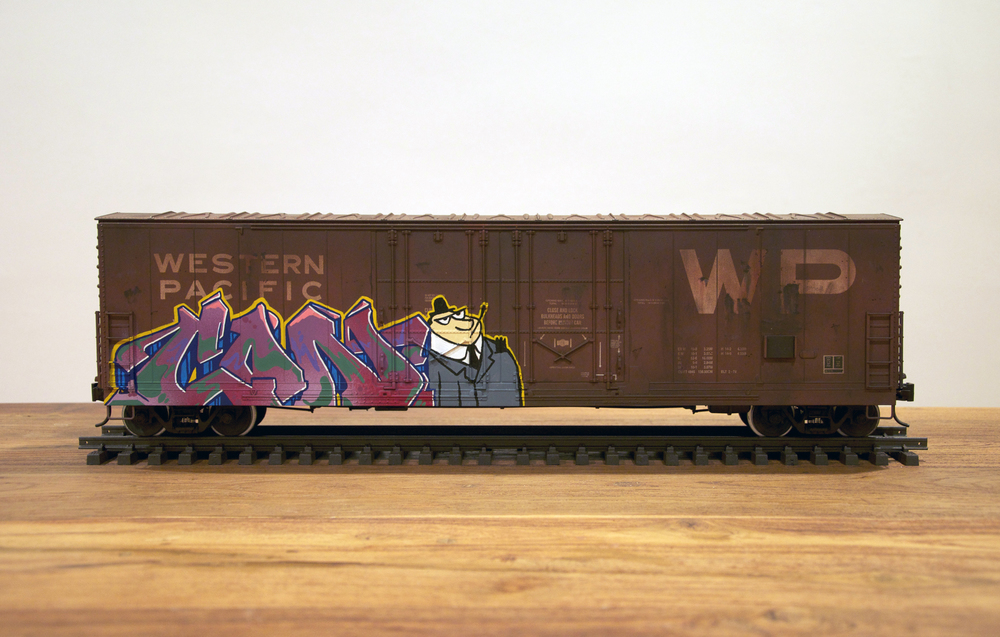 WP #2, G Scale Train, Freight Train Graffiti, Railroad Art, Tim Conlon Art