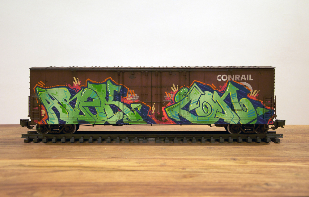 Conrail #2, G Scale Train, Freight Train Graffiti, Railroad Art, Tim Conlon Art