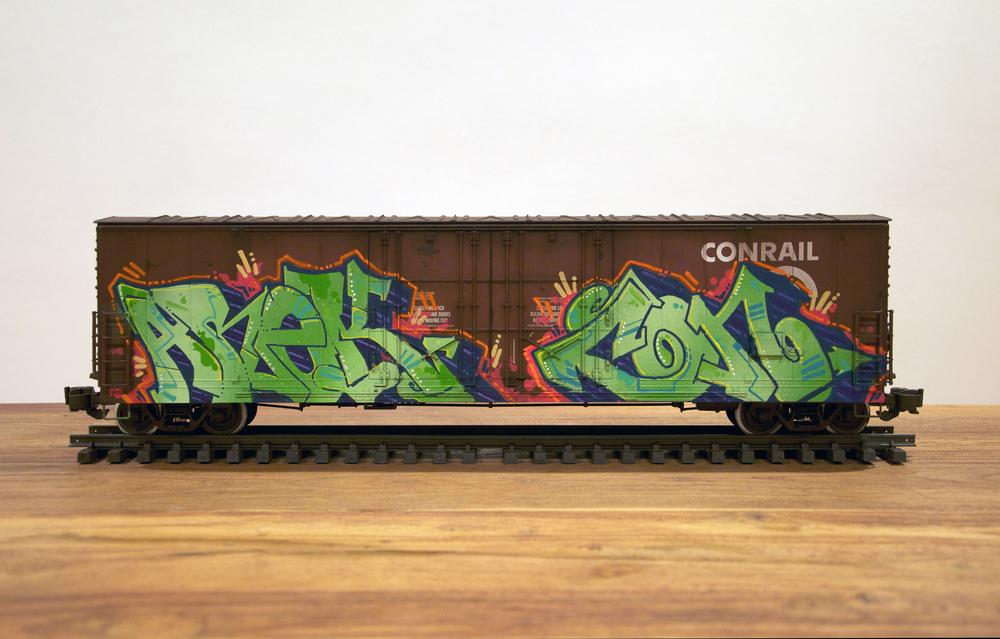 Conrail #2, G Scale Train, Freight Train Graffiti, Railroad Art, Tim Conlon Art