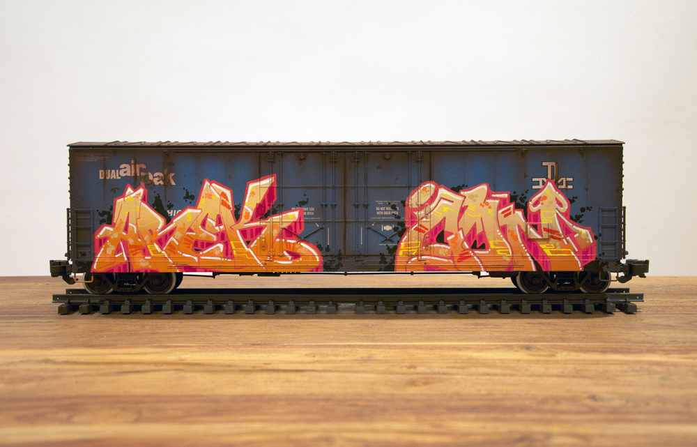 BM #3, G Scale Train, Freight Train Graffiti, Railroad Art, Tim Conlon Art