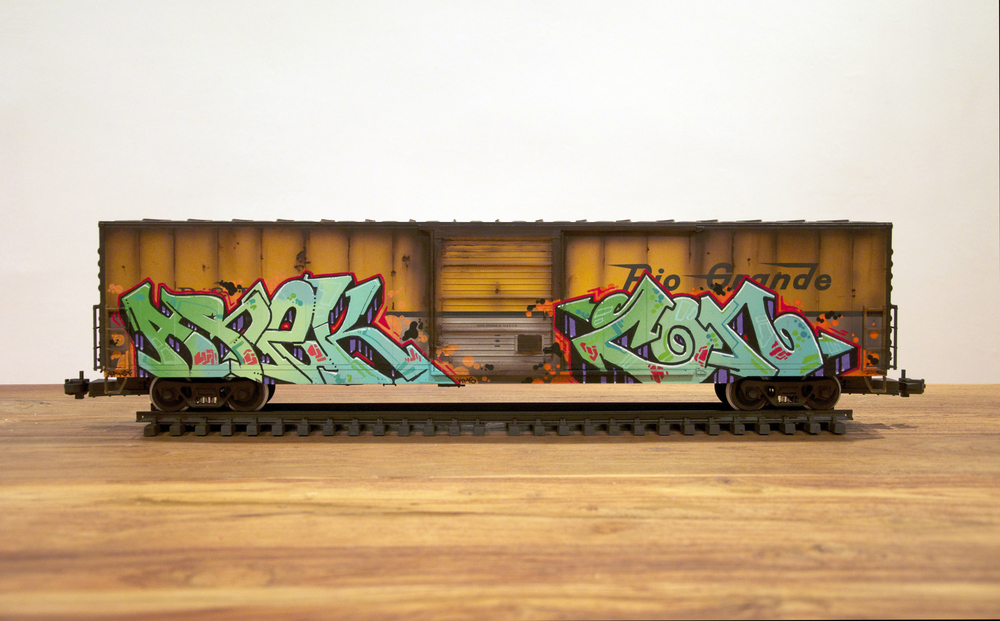 D&RGW, G Scale Train, Freight Train Graffiti, Railroad Art, Tim Conlon Art