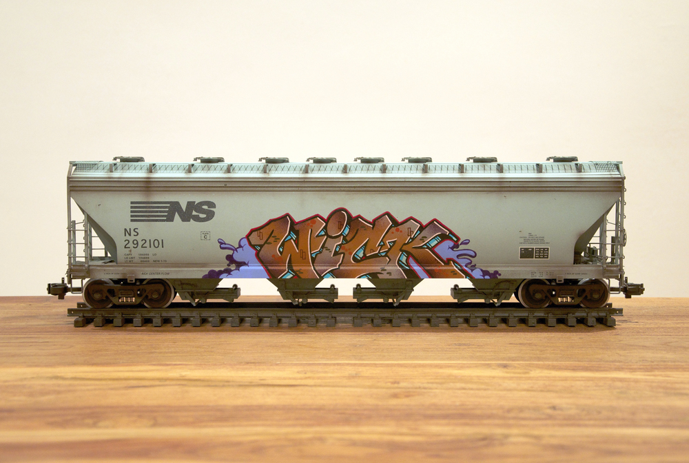 "NS #5 – Charles ""WICK"" Moorman, G Scale Train, Freight Train Graffiti, Railroad Art, Tim Conlon Art"