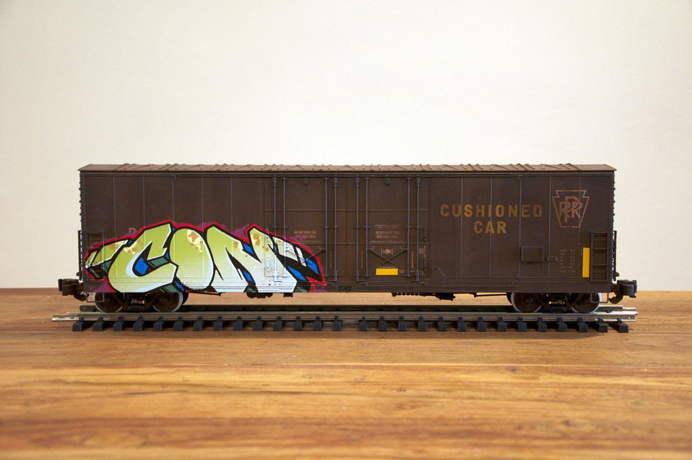 PRR #2, G Scale Train, Freight Train Graffiti, Railroad Art, Tim Conlon Art
