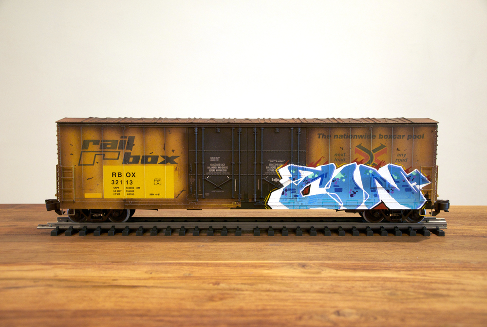 RBOX #3, G Scale Train, Freight Train Graffiti, Railroad Art, Tim Conlon Art