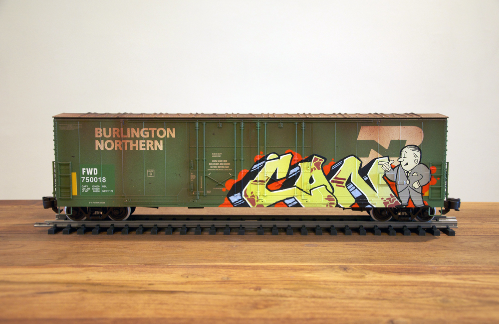 BN, G Scale Train, Freight Train Graffiti, Railroad Art, Tim Conlon Art