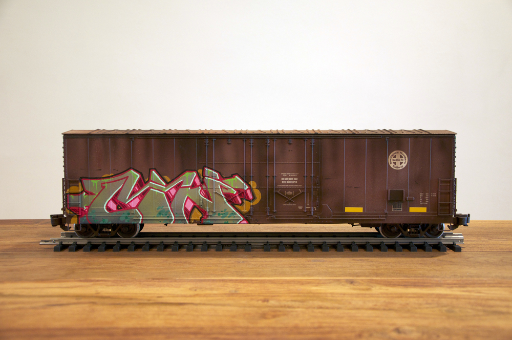 BNSF, G Scale Train, Freight Train Graffiti, Railroad Art, Tim Conlon Art