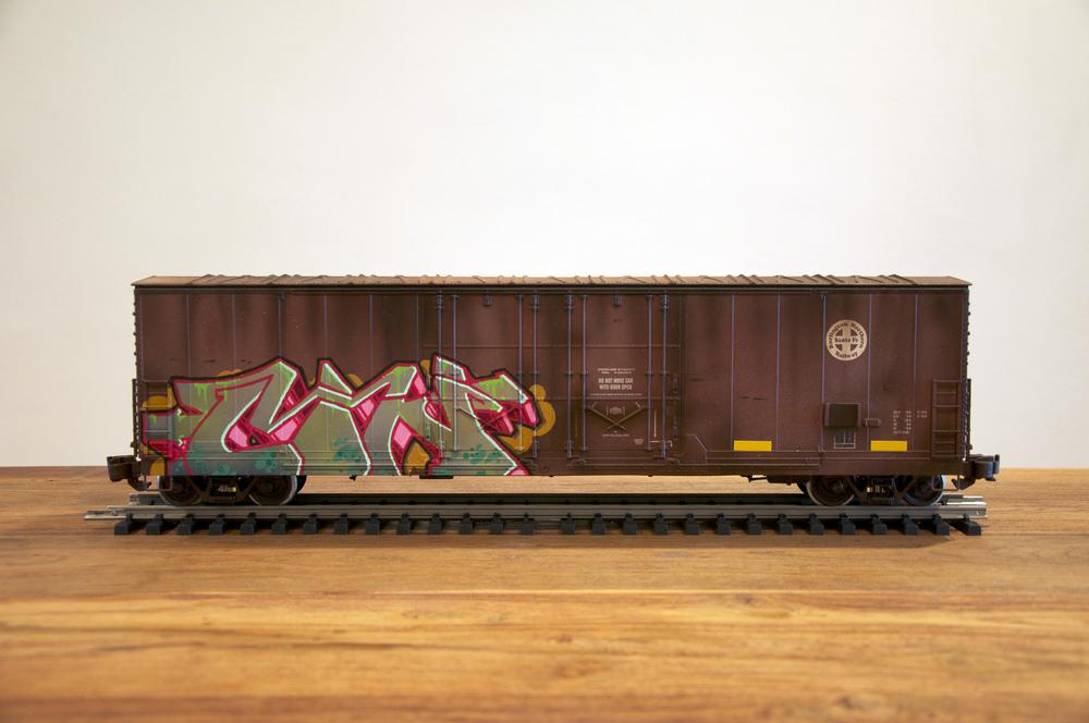 BNSF, G Scale Train, Freight Train Graffiti, Railroad Art, Tim Conlon Art
