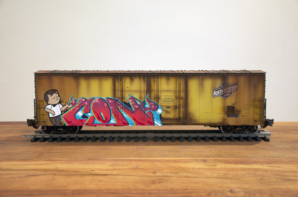 CNW, G Scale Train, Freight Train Graffiti, Railroad Art, Tim Conlon Art