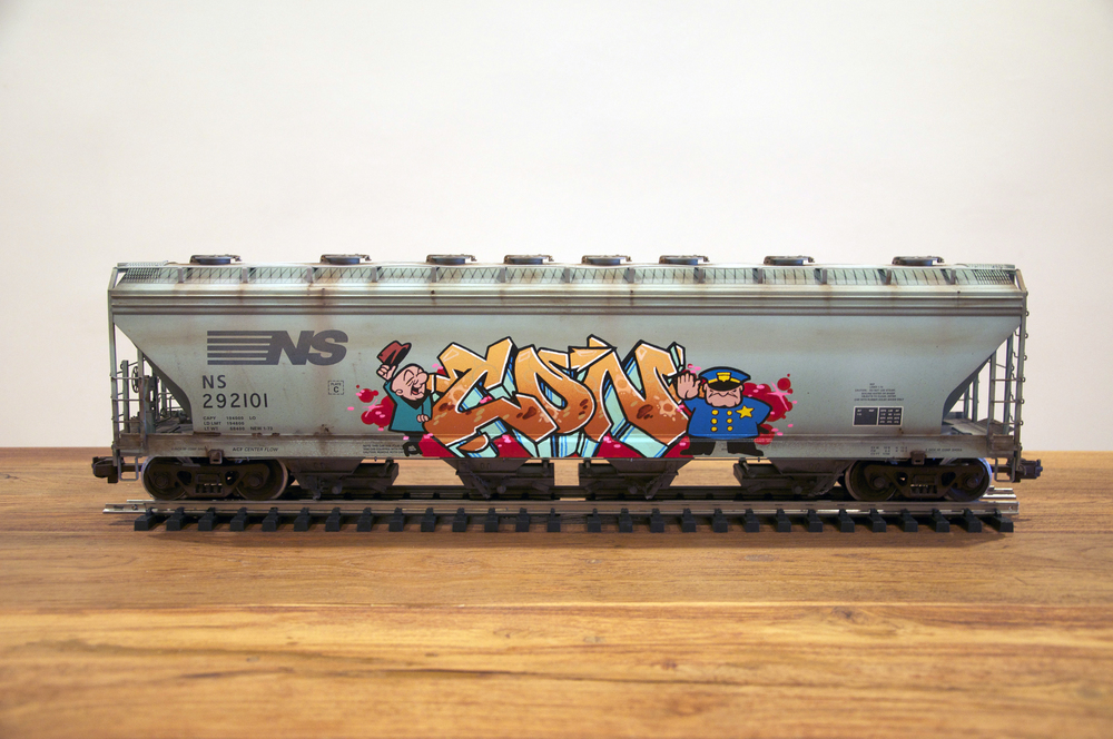 NS #2, G Scale Train, Freight Train Graffiti, Railroad Art, Tim Conlon Art
