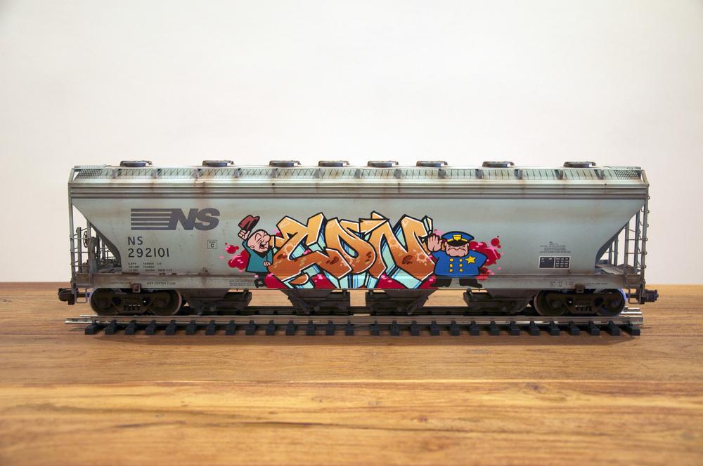 NS #2, G Scale Train, Freight Train Graffiti, Railroad Art, Tim Conlon Art