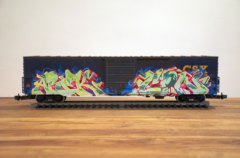 CSX #2, G Scale Train, Freight Train Graffiti, Railroad Art, Tim Conlon Art