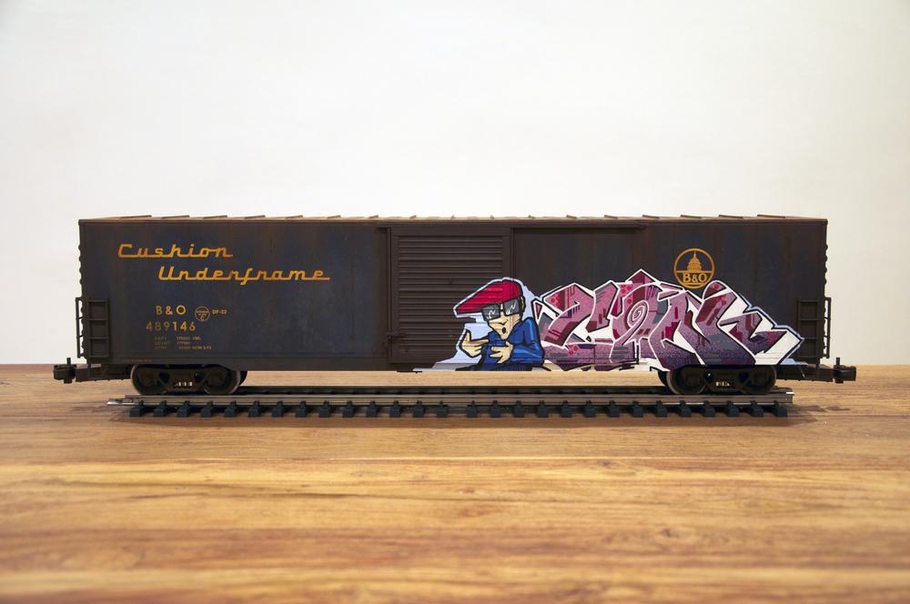 B&O, G Scale Train, Freight Train Graffiti, Railroad Art, Tim Conlon Art