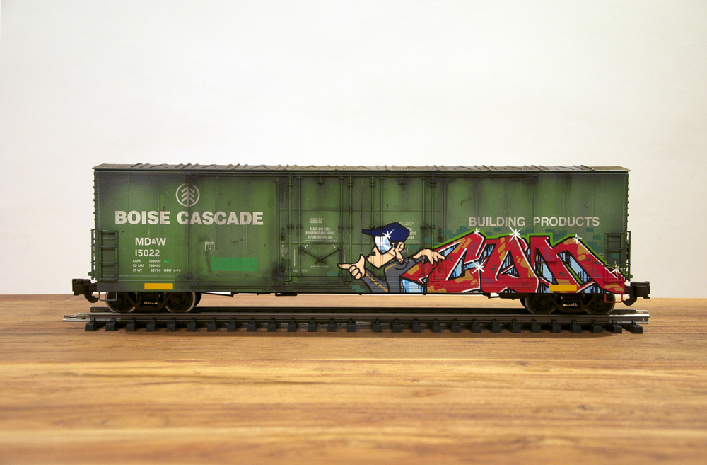 MD&W, G Scale Train, Freight Train Graffiti, Railroad Art, Tim Conlon Art