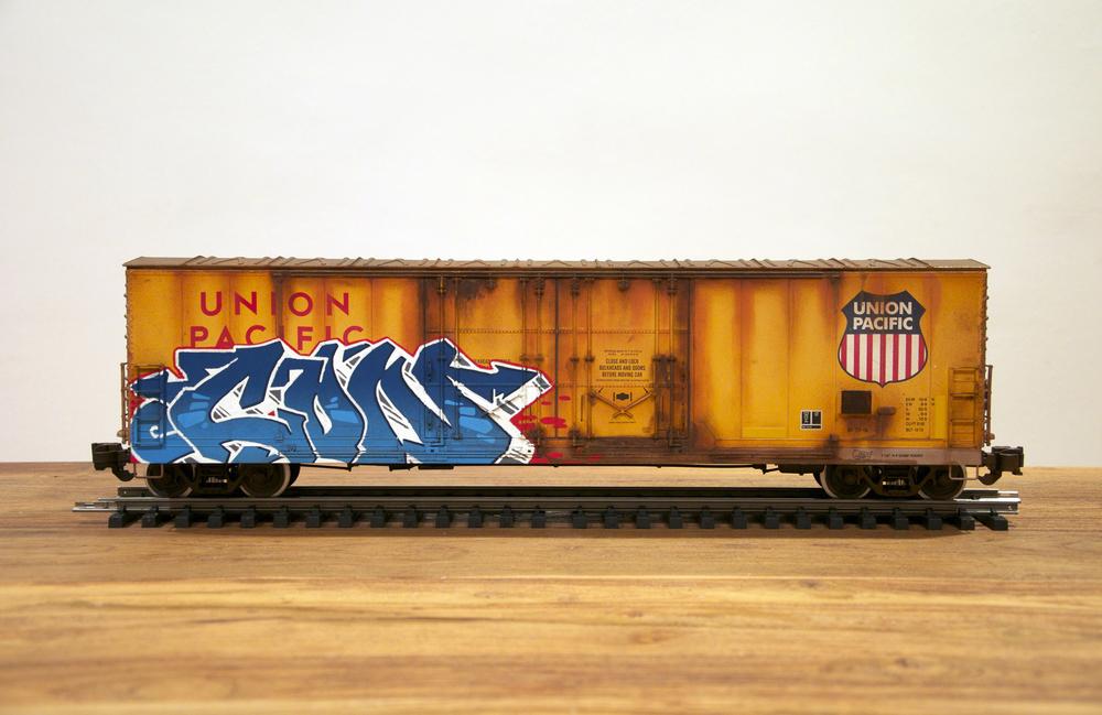 UP, G Scale Train, Freight Train Graffiti, Railroad Art, Tim Conlon Art