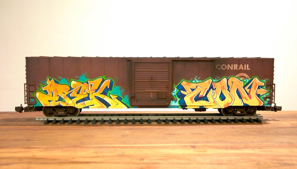 Conrail, G Scale Train, Freight Train Graffiti, Railroad Art, Tim Conlon Art