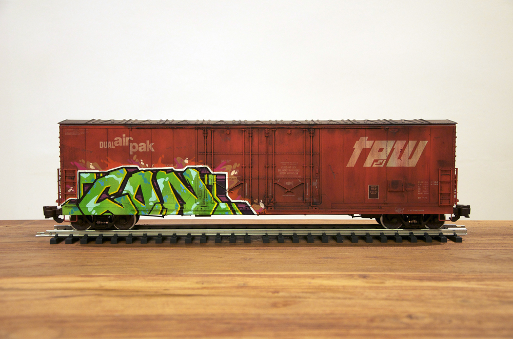 TPW, G Scale Train, Freight Train Graffiti, Railroad Art, Tim Conlon Art