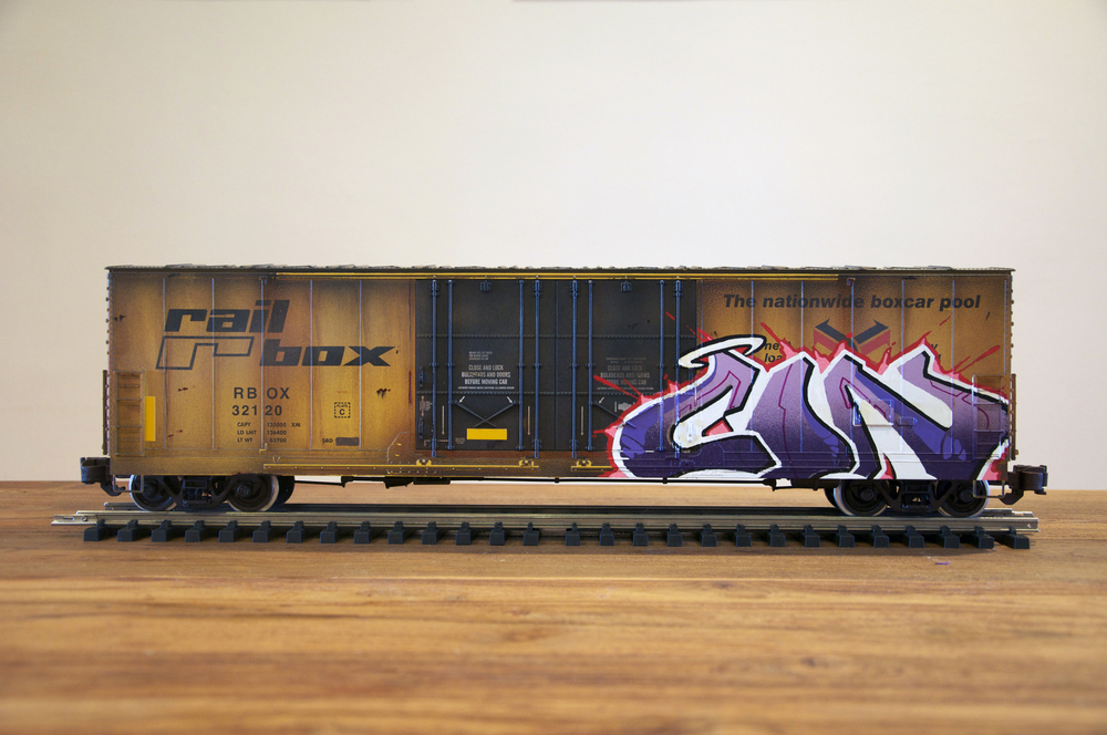 RBOX #2, G Scale Train, Freight Train Graffiti, Railroad Art, Tim Conlon Art
