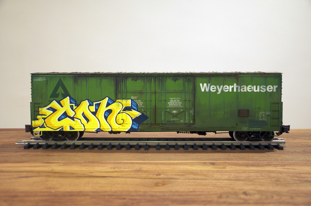 USLX, G Scale Train, Freight Train Graffiti, Railroad Art, Tim Conlon Art
