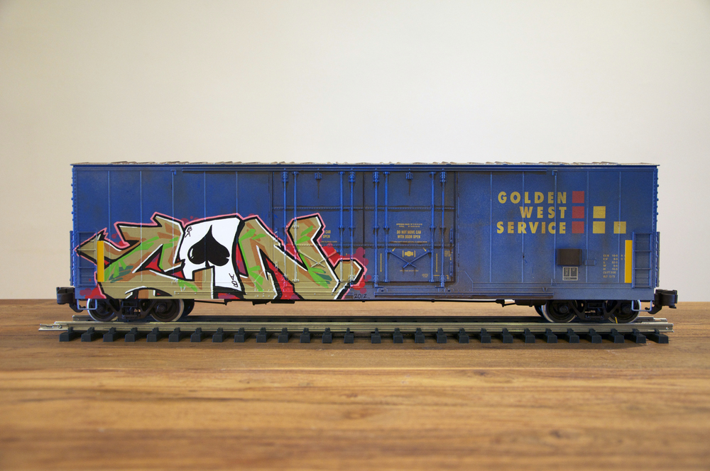 GVSR, G Scale Train, Freight Train Graffiti, Railroad Art, Tim Conlon Art
