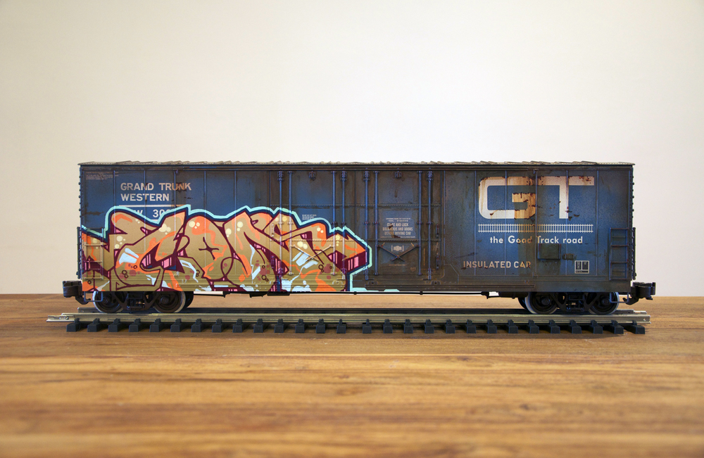 GT #2, G Scale Train, Freight Train Graffiti, Railroad Art, Tim Conlon Art