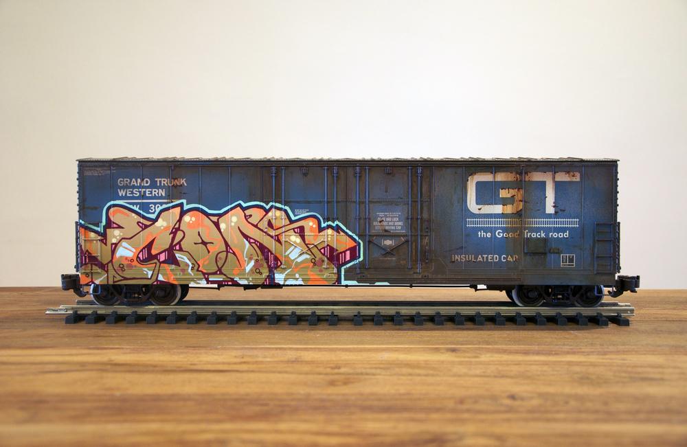 GT #2, G Scale Train, Freight Train Graffiti, Railroad Art, Tim Conlon Art