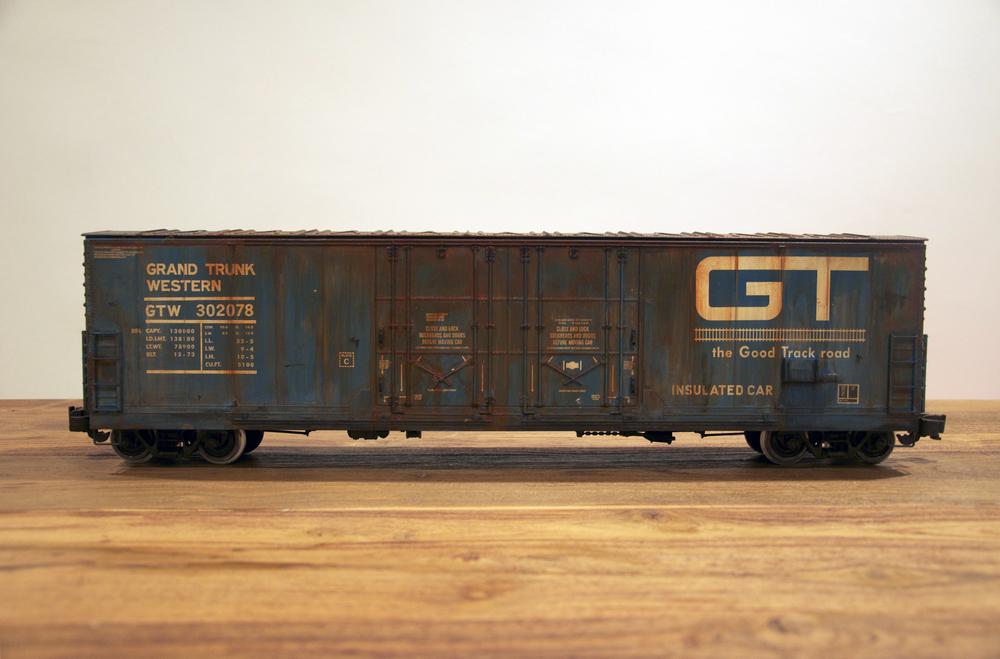 GT, G Scale Train, Freight Train Graffiti, Railroad Art, Tim Conlon Art