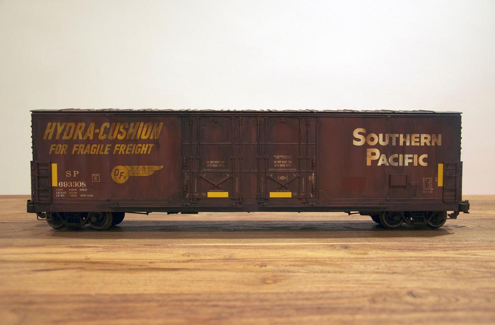 SP, G Scale Train, Freight Train Graffiti, Railroad Art, Tim Conlon Art