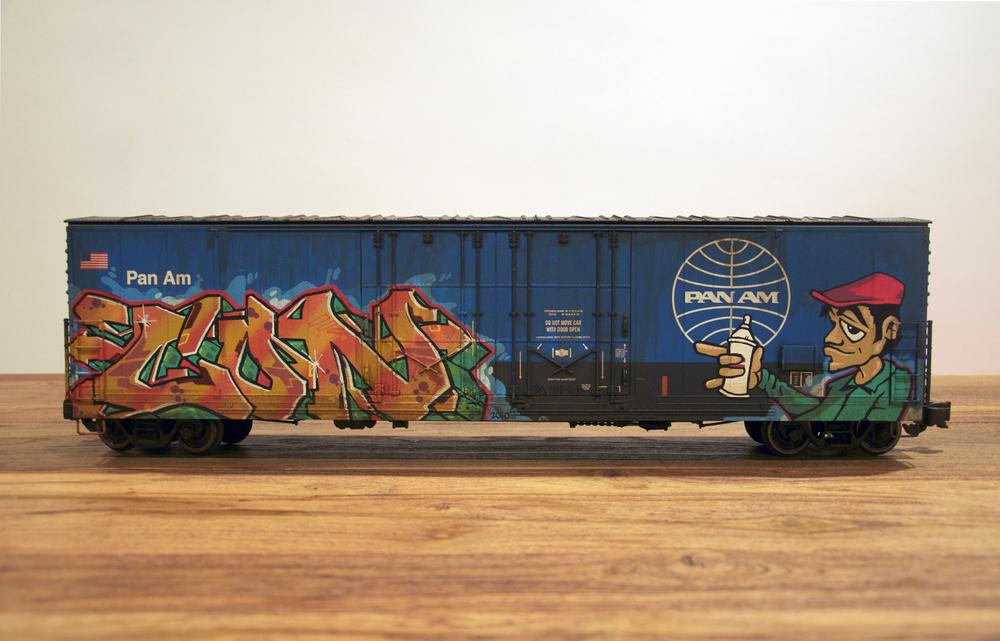 Pan Am, G Scale Train, Freight Train Graffiti, Railroad Art, Tim Conlon Art