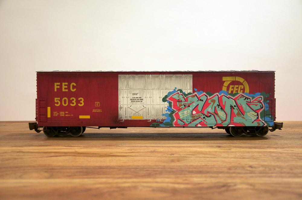 FEC, G Scale Train, Freight Train Graffiti, Railroad Art, Tim Conlon Art