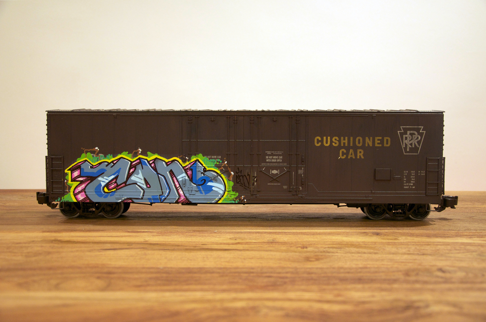 PRR, G Scale Train, Freight Train Graffiti, Railroad Art, Tim Conlon Art