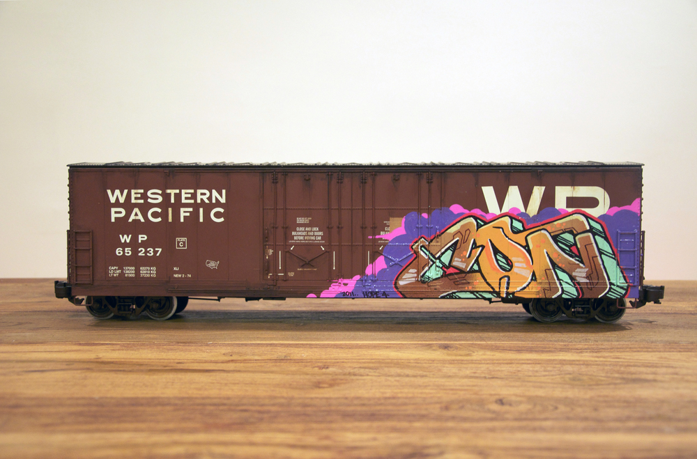 WP, G Scale Train, Freight Train Graffiti, Railroad Art, Tim Conlon Art