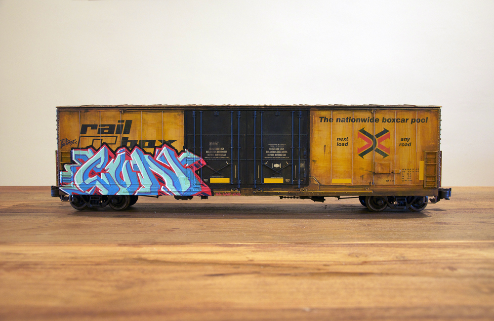 RBOX, G Scale Train, Freight Train Graffiti, Railroad Art, Tim Conlon Art