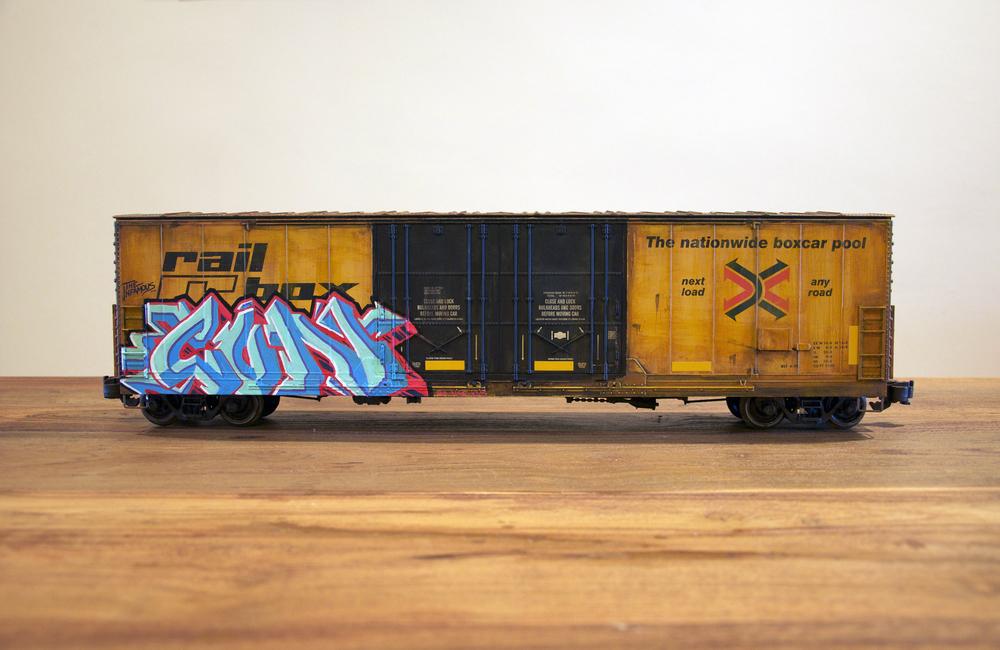 RBOX, G Scale Train, Freight Train Graffiti, Railroad Art, Tim Conlon Art