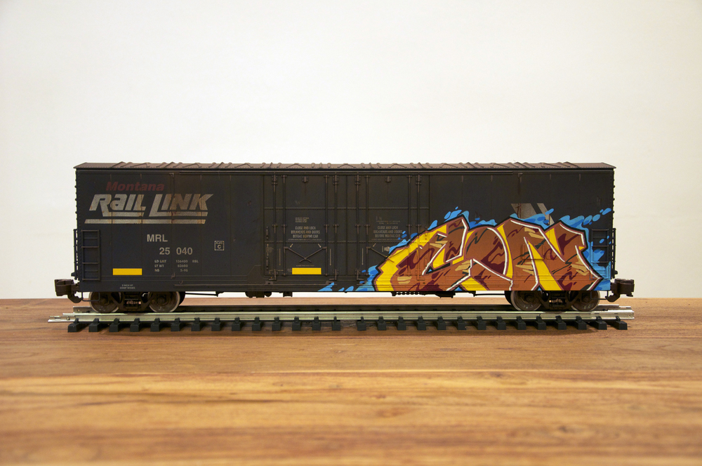 MRL, G Scale Train, Freight Train Graffiti, Railroad Art, Tim Conlon Art