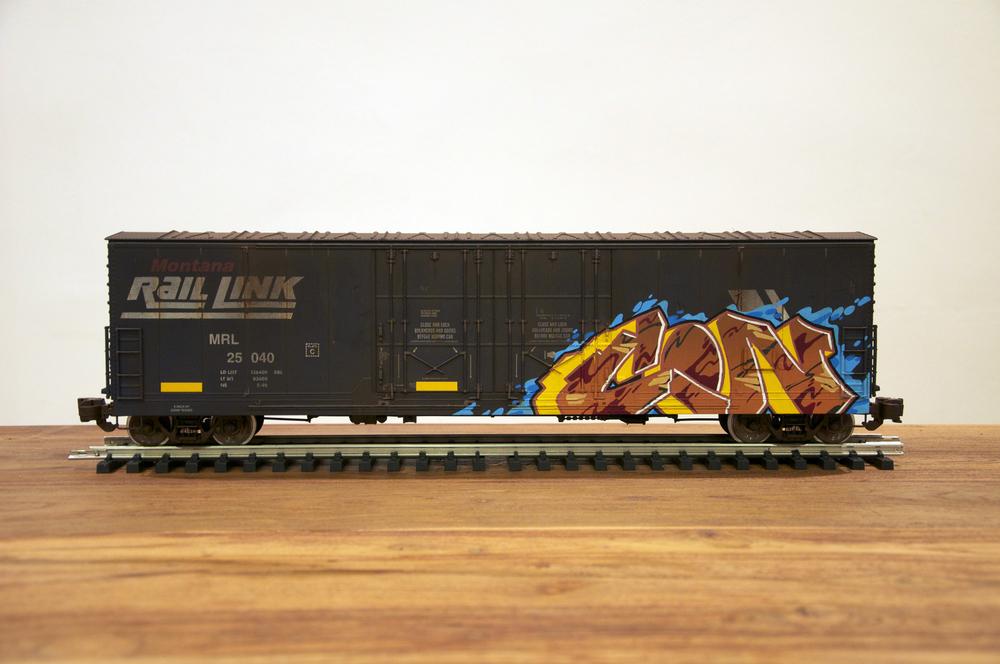 MRL, G Scale Train, Freight Train Graffiti, Railroad Art, Tim Conlon Art