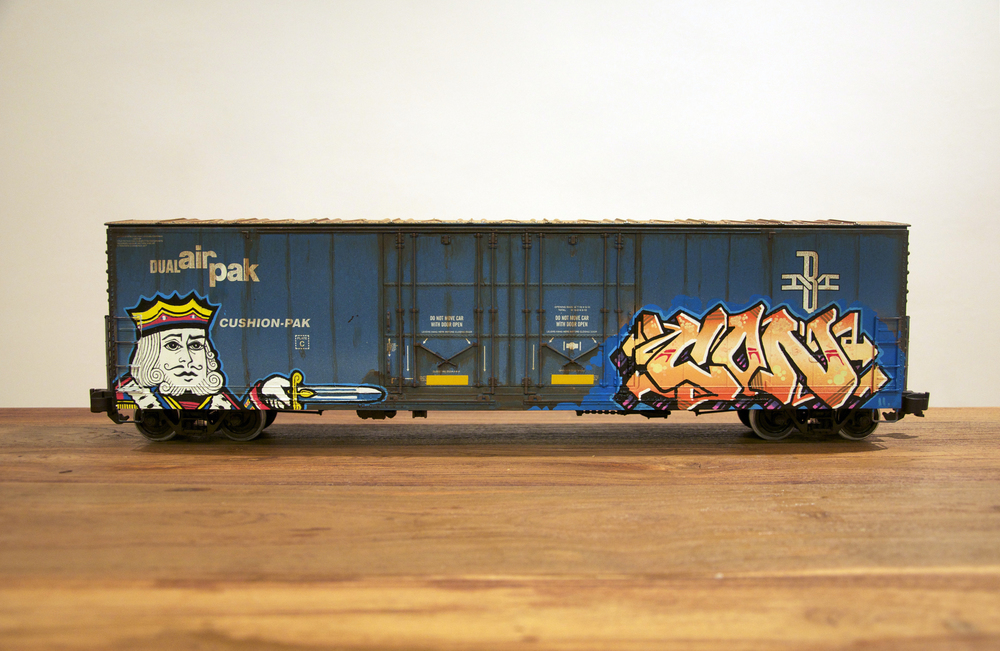BM, G Scale Train, Freight Train Graffiti, Railroad Art, Tim Conlon Art