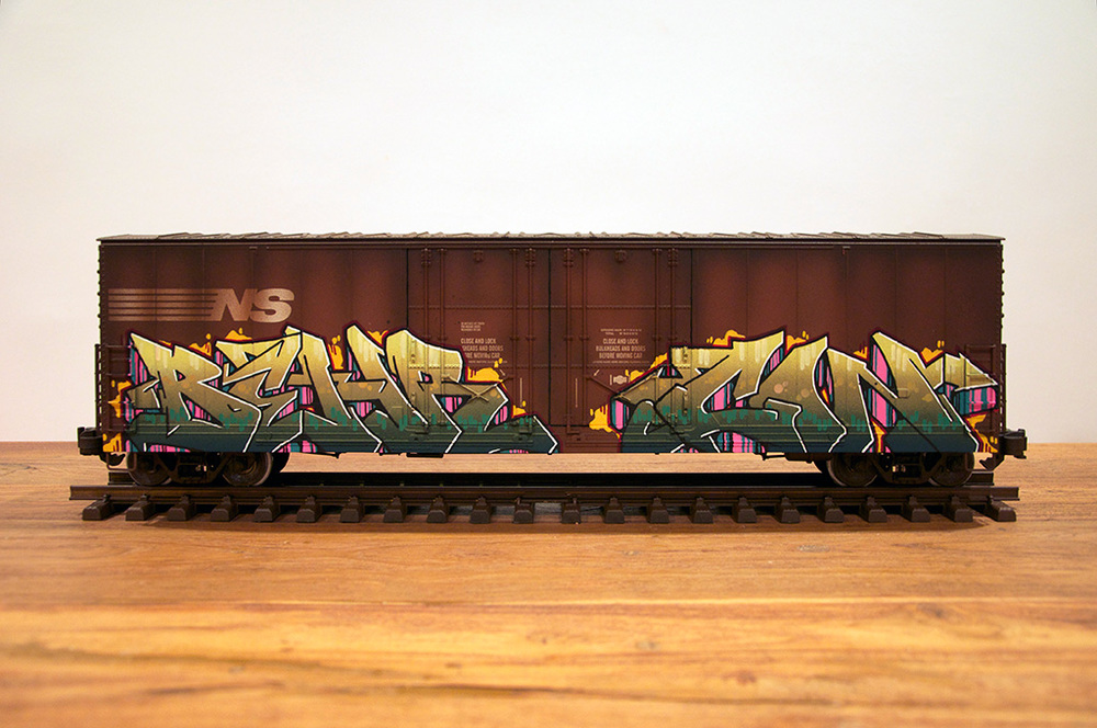 NS #8, G Scale Train, Freight Train Graffiti, Railroad Art, Tim Conlon Art