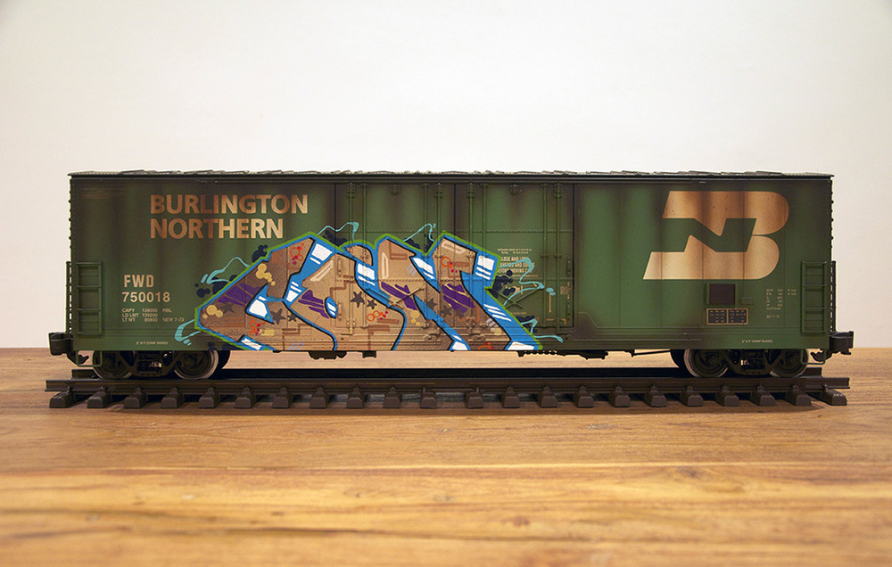 BN #2, G Scale Train, Freight Train Graffiti, Railroad Art, Tim Conlon Art