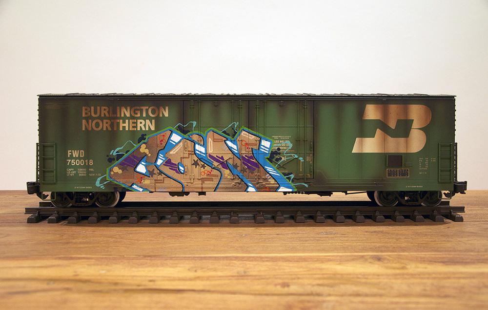 BN #2, G Scale Train, Freight Train Graffiti, Railroad Art, Tim Conlon Art