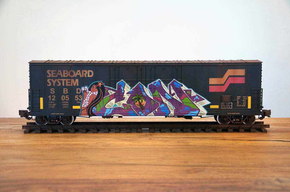 SBD, G Scale Train, Freight Train Graffiti, Boxcar Art, Railroad Art, Tim Conlon Art