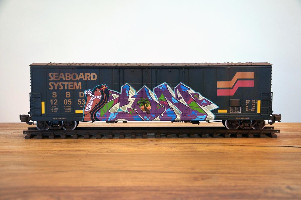SBD, G Scale Train, Freight Train Graffiti, Boxcar Art, Railroad Art, Tim Conlon Art