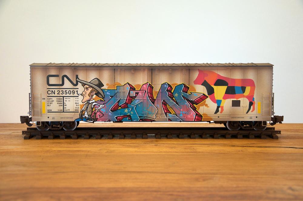 CN #22, G Scale Train, Freight Train Graffiti, Railroad Art, Tim Conlon Art